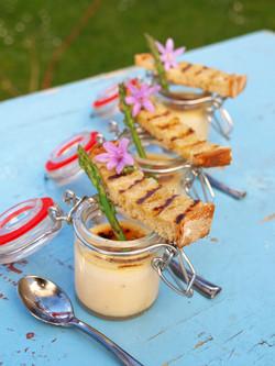 Cheddar brûlée with sorrel pesto
