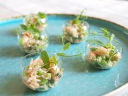Crab salad & spring veg canapé bowl
