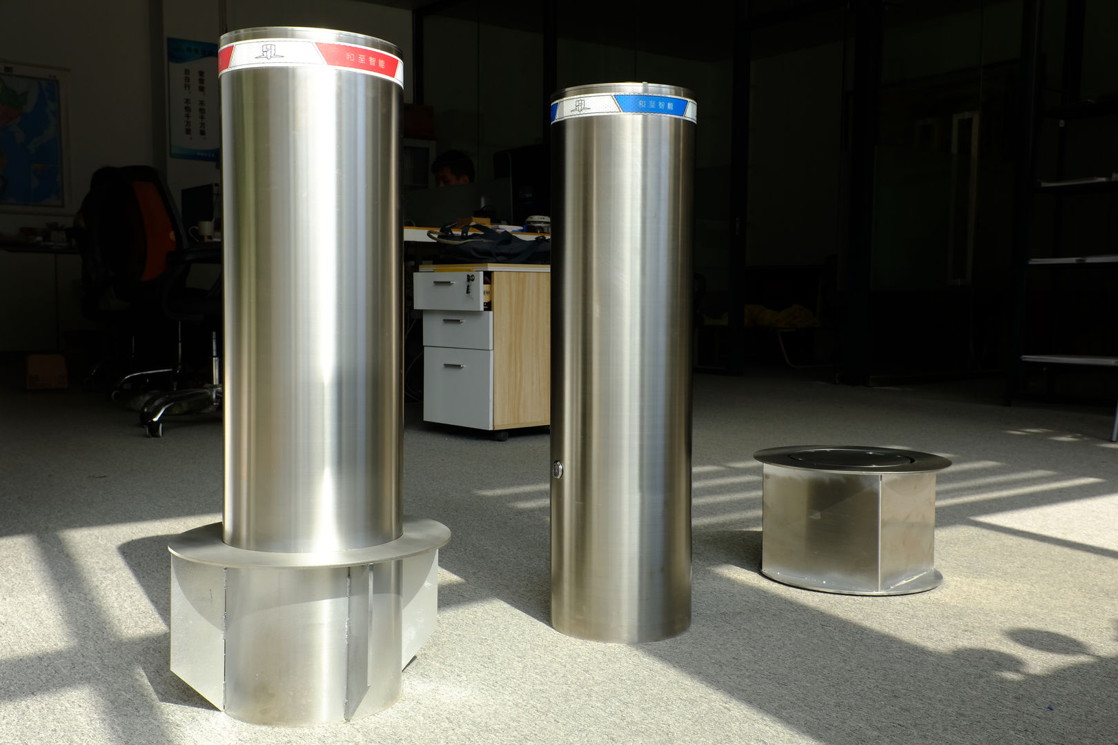 Fixed Bollard in showroom