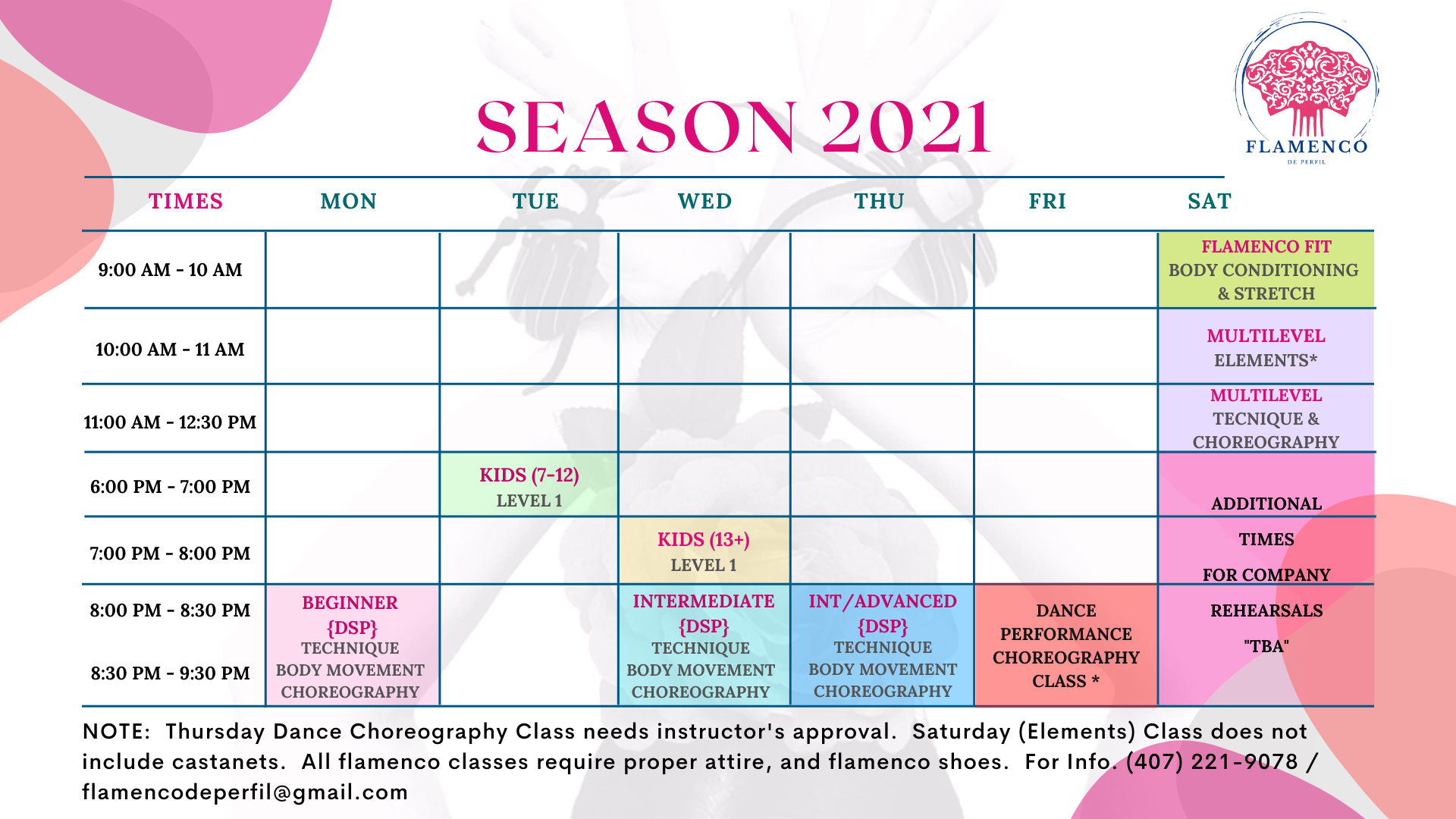 season 2021 - Calendar