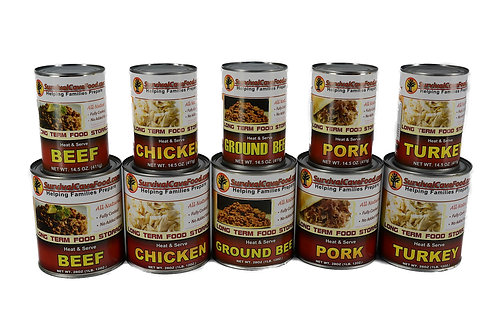Canned Meat (various flavors) available in  14.5oz ($15.00) or 28oz ($20.00)