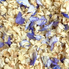 Jasmine petals and pale blue Delphiniums