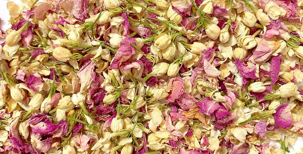 Jasmine Buds and Pink Rose