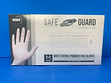 Safeguard Nitrile Gloves White Medium, case of 10 boxes