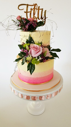 50th ombre Pink Buttercream