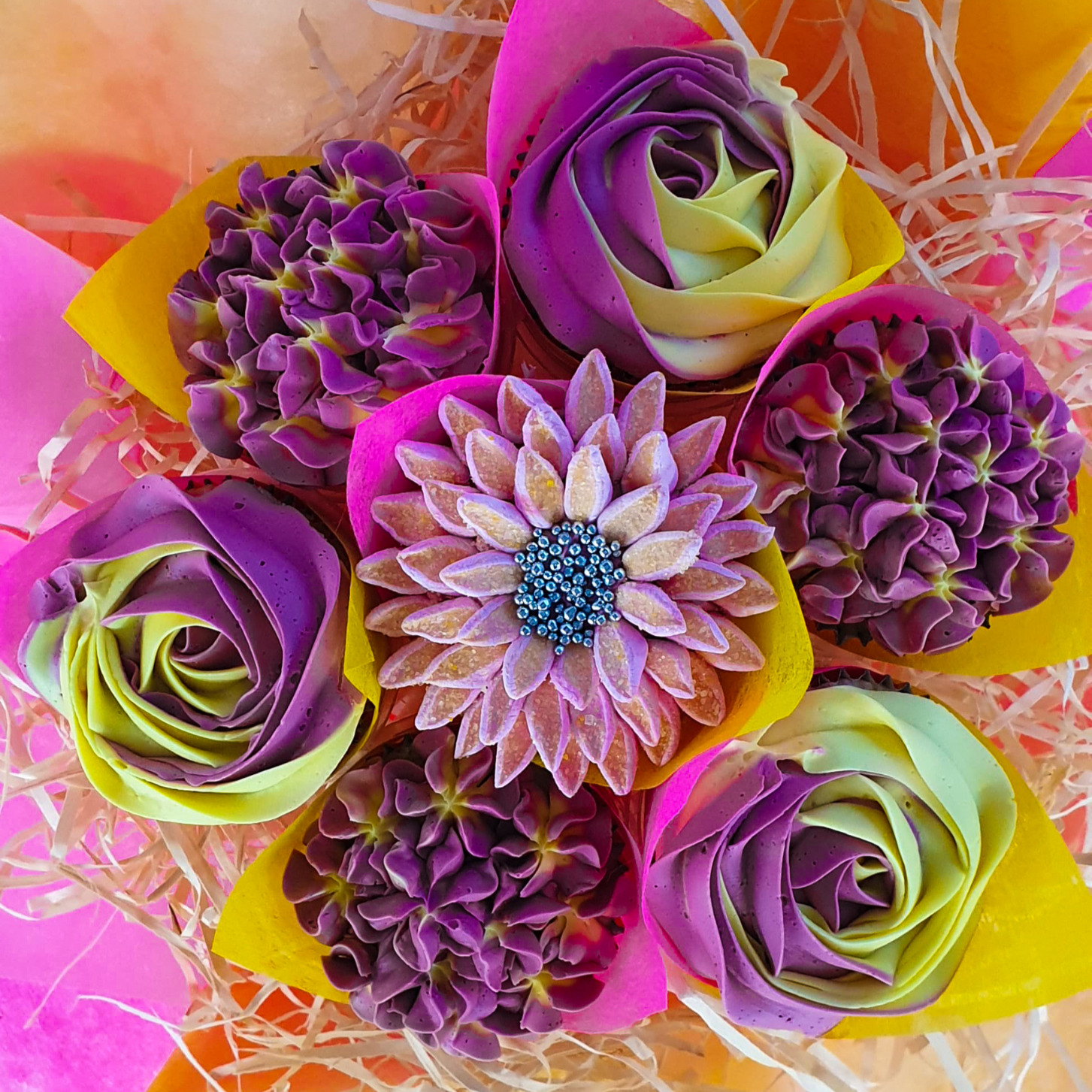 Mixed Blooms - Purple & Yellow