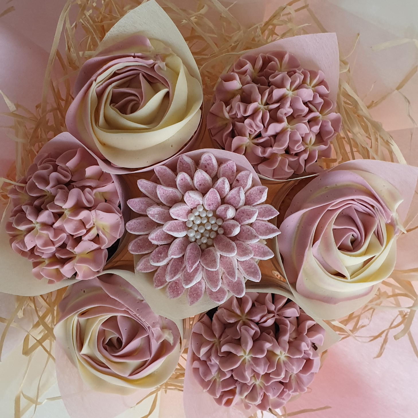 Mixed Blooms - Pink & Cream
