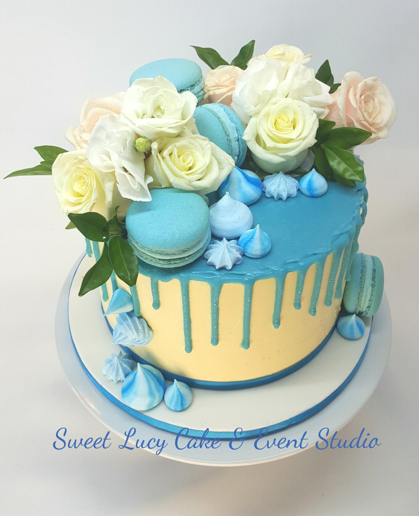 Blue Macarons & White Roses
