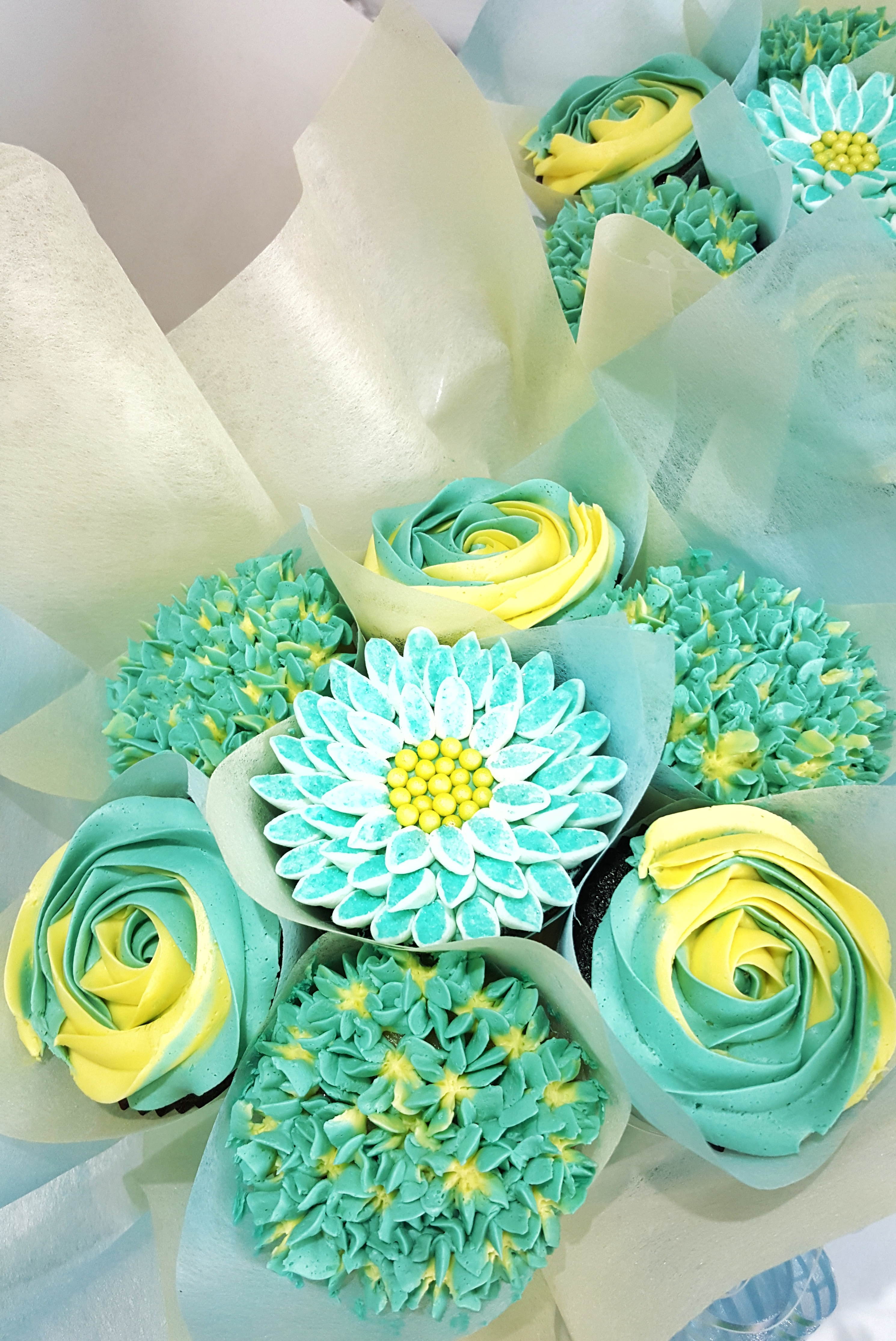 Mixed Blooms - Teal & Yellow