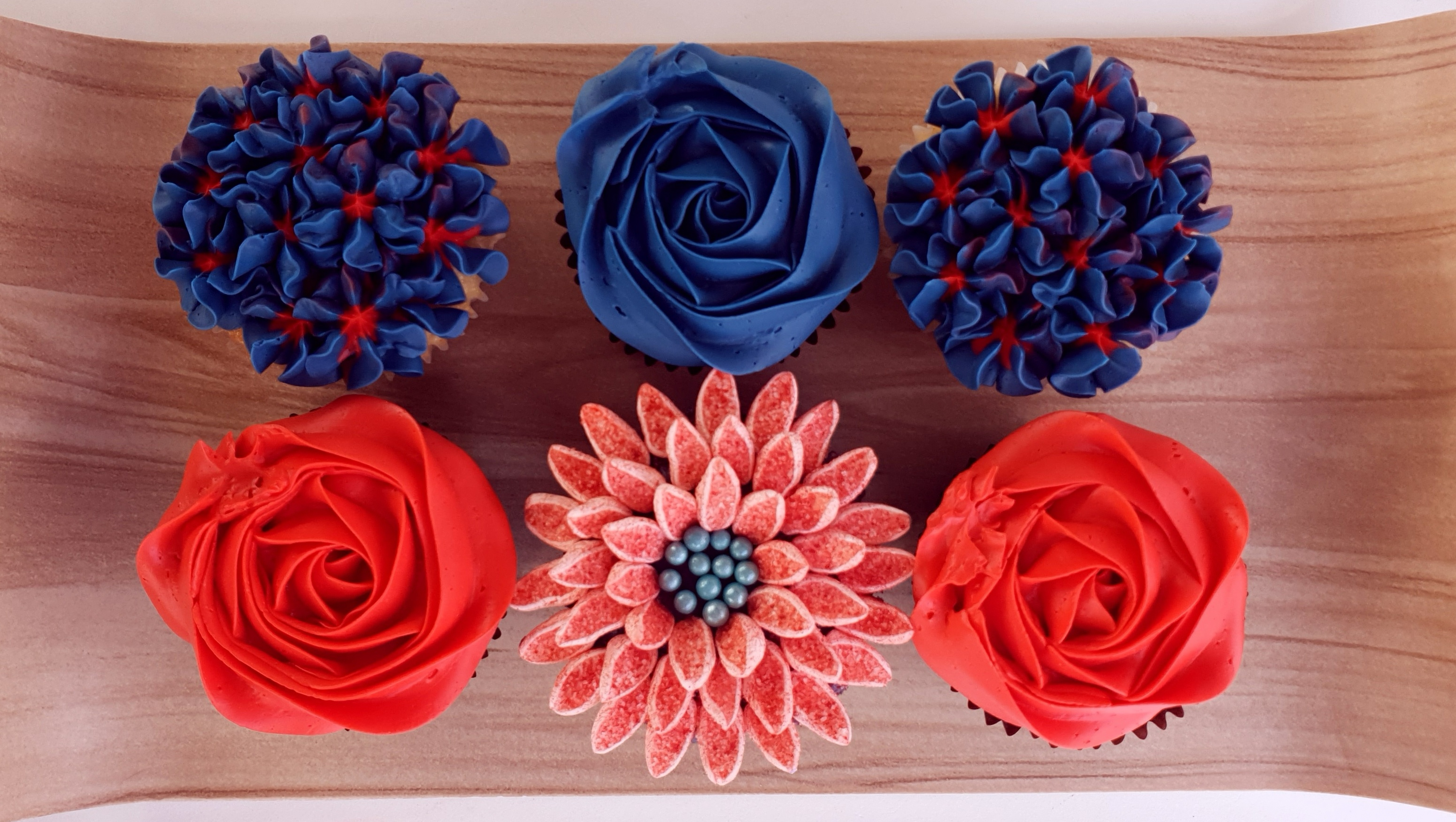 Mixed Blooms - Navy & Red