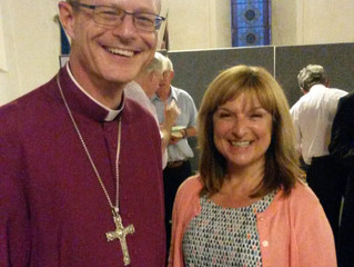 Lisa-Jane enjoys a relaxed moment with Bishop Mark after her confirmation
