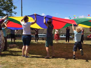 Parachute fun at the summer BBQ