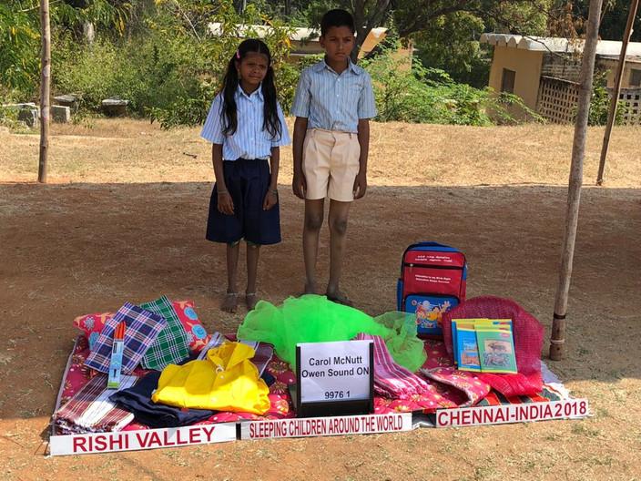Bed kits distribution at Rishi Valley