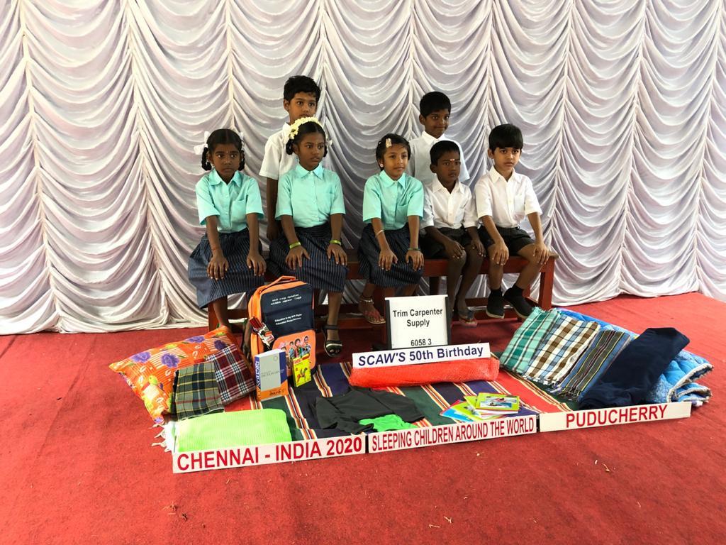 Bed kits distribution at Pondicherri