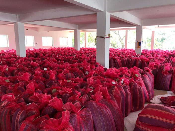 Bed kits stored for distribution