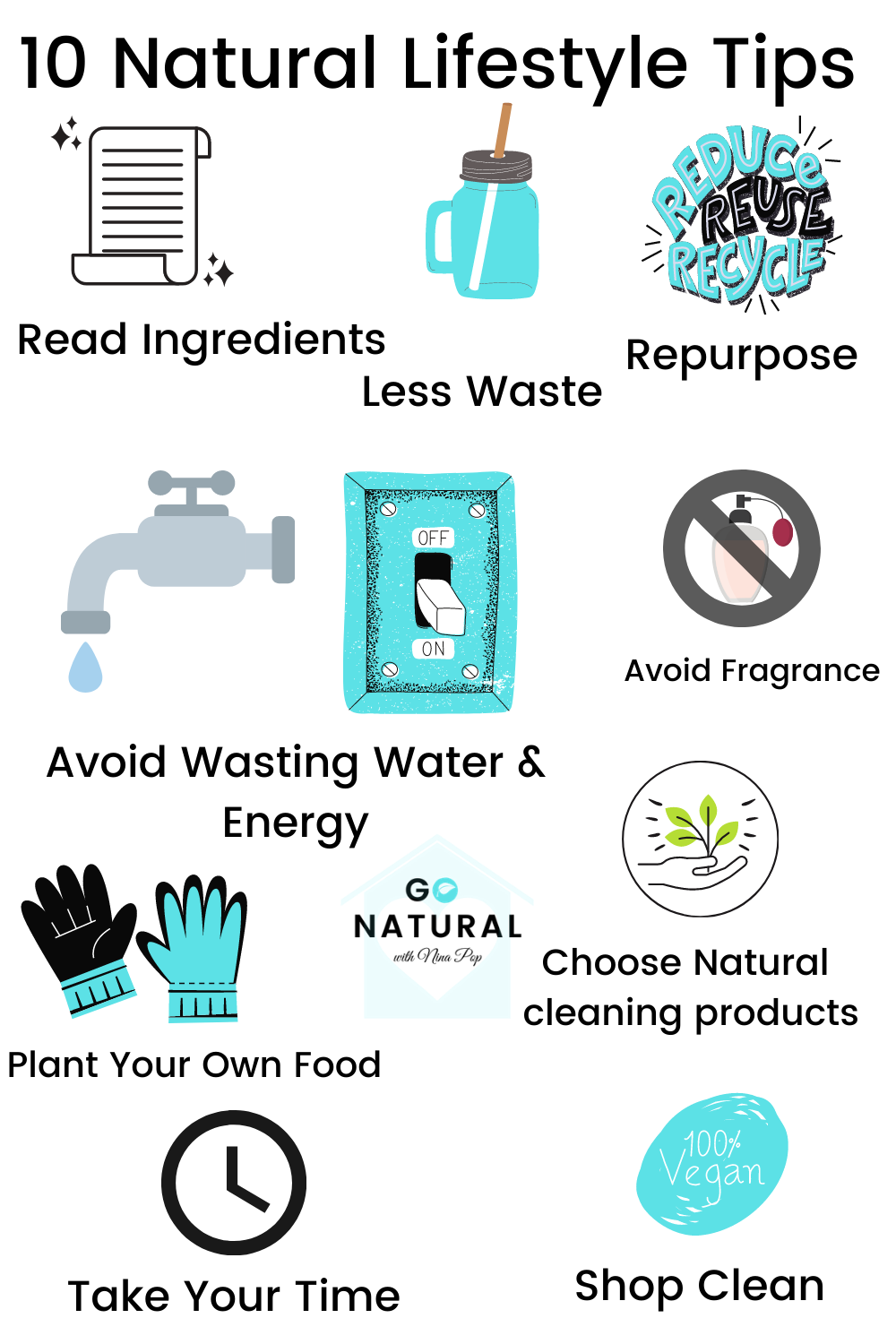This image shows a snapshot of 10 natural lifestyle tips, that we share more details about in this natural lifestyle blog