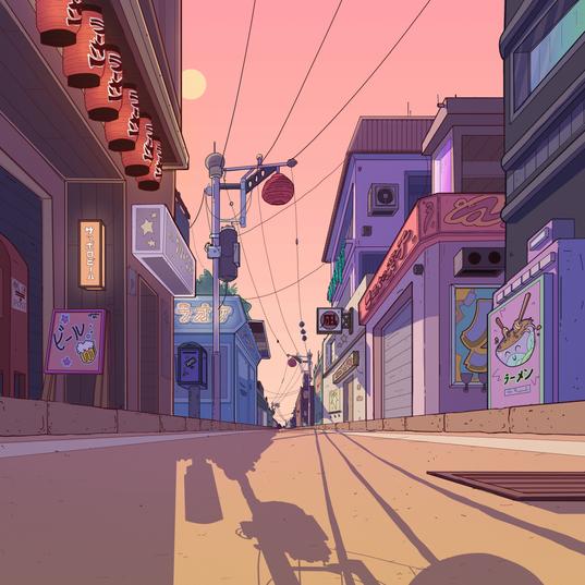 Japanese street animation background
