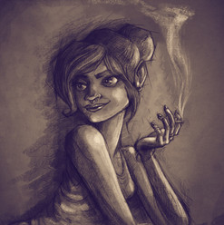 Smoking girl character sketch.