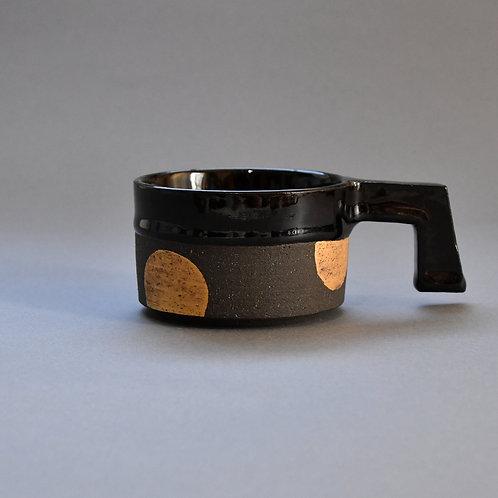 調麓窯 cyoroku kiln /上島かな子 黒のコーヒーカップ dot