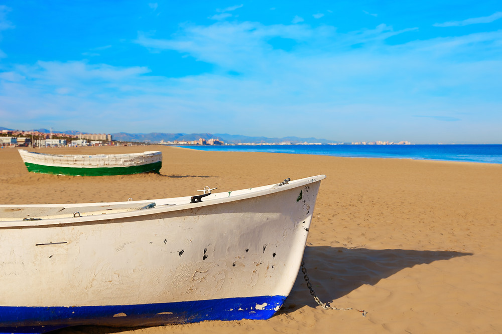Serene beach; Europe's best; Malvarrosa Beach - Valencia, Spain