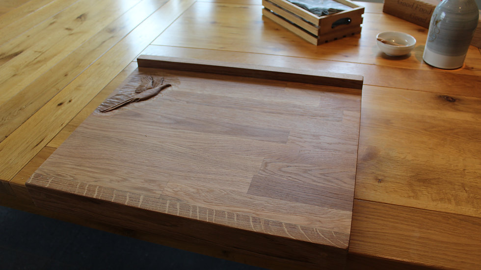 Oak lipped double sided chopping board