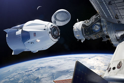 Cargo spacecraft in low-Earth orbit. Ele