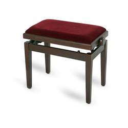 כסא לפסנתר בצבע אגוז עם בד בורדו
