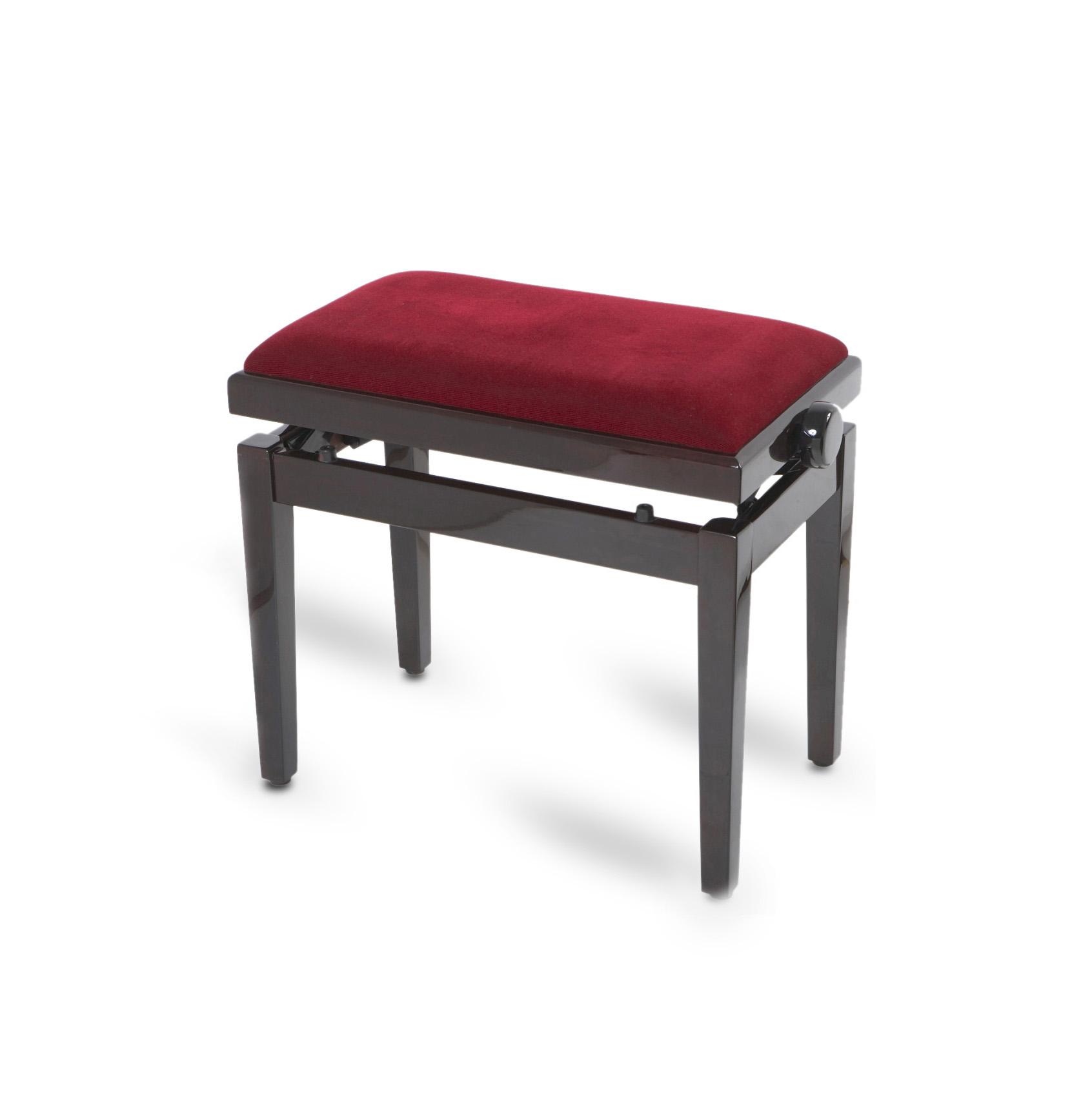 כסא לפסנתר בצבע שחור עם בד בורדו