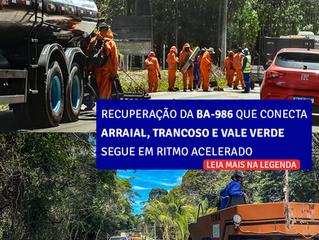 Os trabalhos de recuperação da BA-986, que liga o Arraial D'Ajuda até o entroncamento para Trancoso