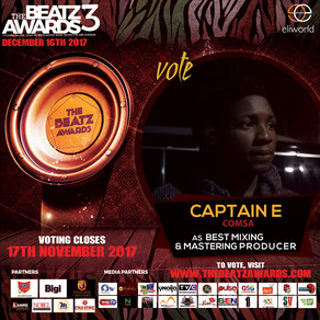 Captain E gets nominated for The Best Mixing and Mastering Engineer at THE BEATZ AWARDS 3