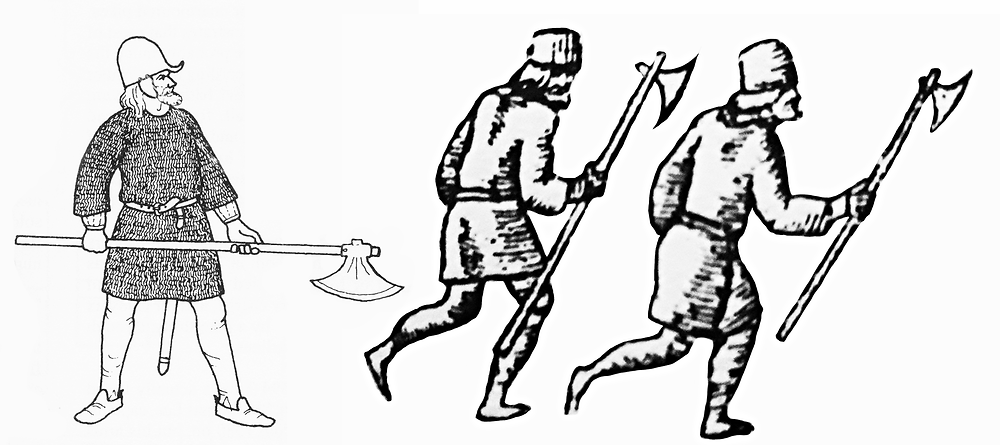 Ian Heath drawing of galloglass, and galloglass from John Derricke.