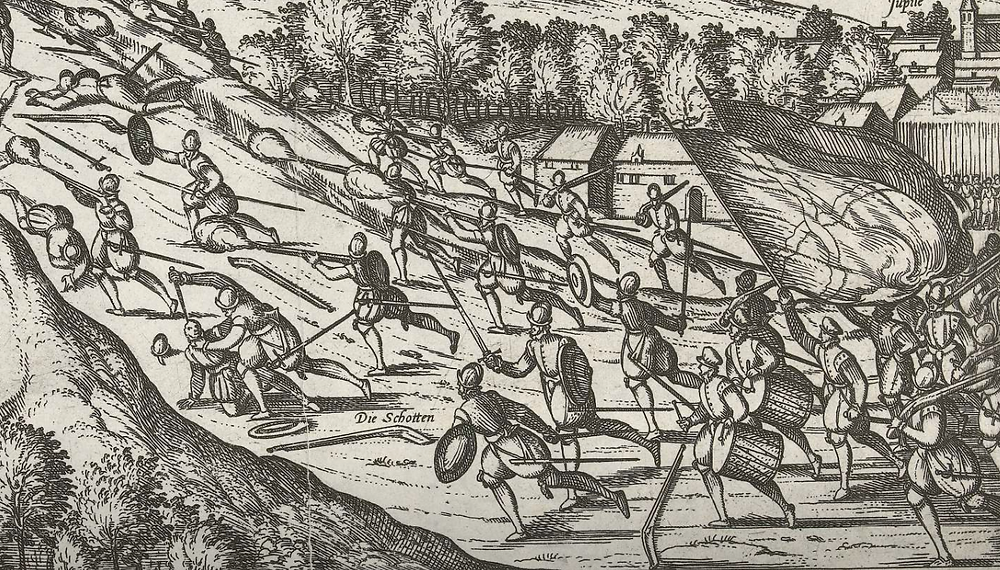 Spanish shot and targets skirmish, 1577. Note, several of the shot also carry targets on their backs, per Dawtrey..
