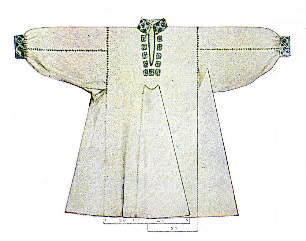 Rumanian linen shirt, with green embroidery in seams