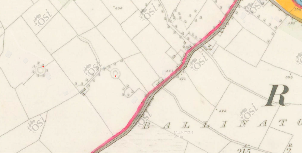 Rath settlement at Ballinacor in the Wicklow mountains, depicted on the 1837 six inch ordnance map.