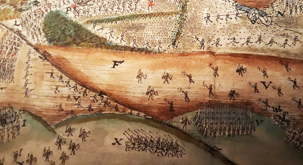 Irish targetiers, lower left, with mixed targetiers and shot on the brown bog above (F). Yellow Ford, 1598.