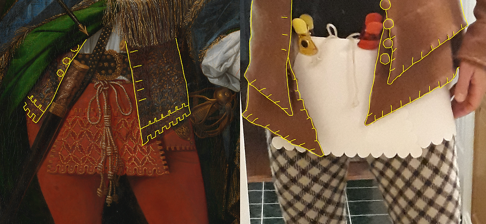 Dagged coat skirts (Sir Neill, left; Dungiven, right—with paper mock-ups of trews flaps).