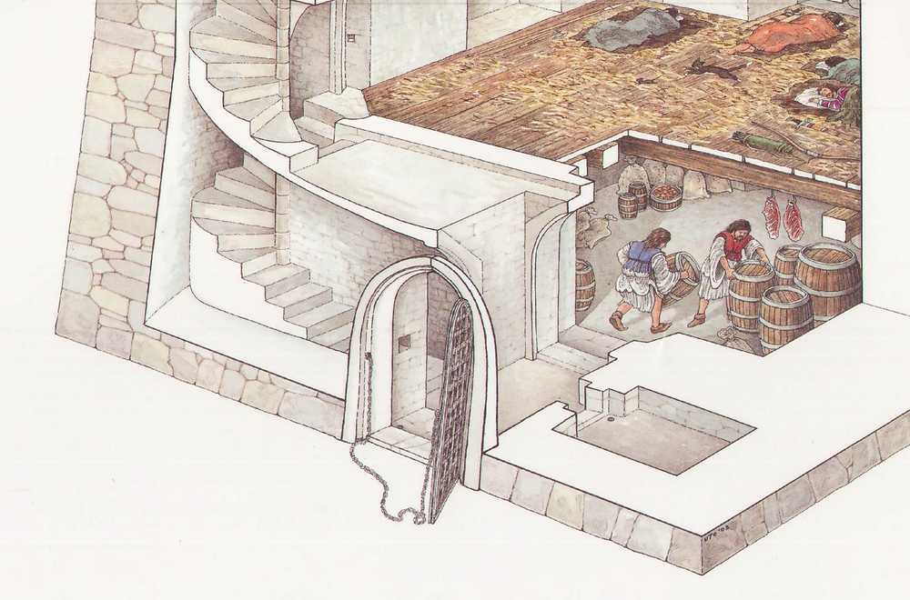 First level entrance, door/yett with pull chain.  Porter's lodge to right of lobby, spiral staris to left, store room straight ahead.