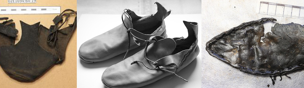 John Nichol's images of Chancery lane brogues with elaborate heel piece (left), and pointed toe (right).
