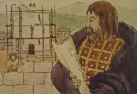 An Irish lord oversees his castle's construction.