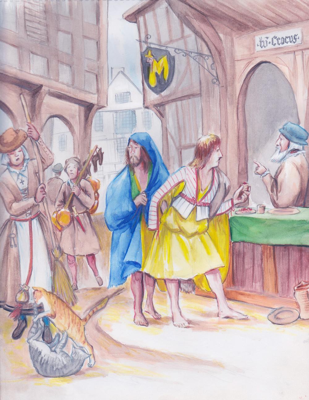 street scene, 16th century Kilkenny, Irish kern buying saffron from merchant