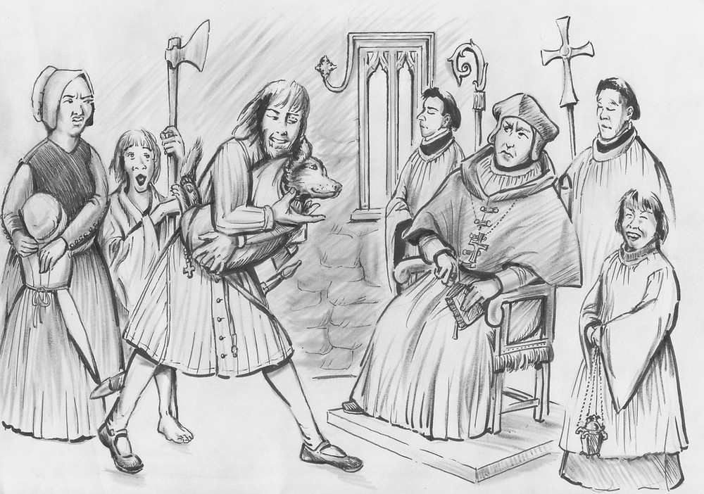 Irish galloglass presents his dogg for confirmation to the Bishop of Galway
