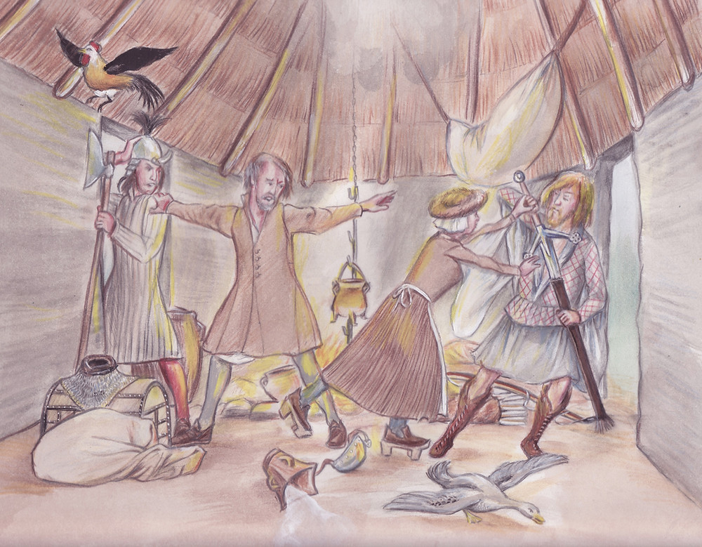 Galloglass and Redshank fighting in a churl's cabin