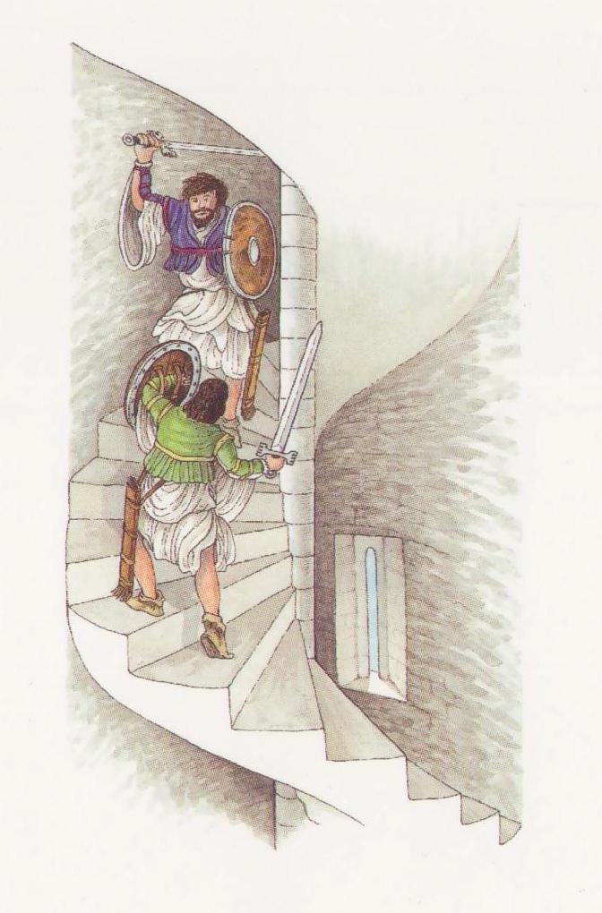 Spiral stairwells favoured the defender.