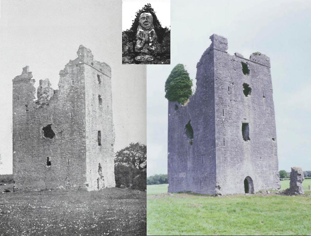Tinnikill castle in 1903 and today.  Sheela-na-gig inset.