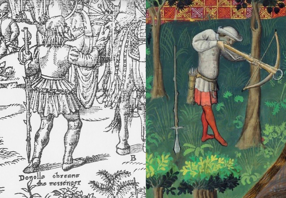 Derricke's messenger. Compare spear shaft in French hunt scene.