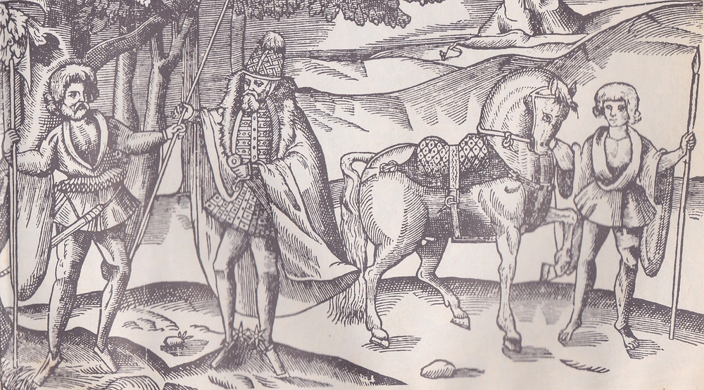 Derricke's Chief (1581) with his Lord's Galloglass, left, and horseboy, right.