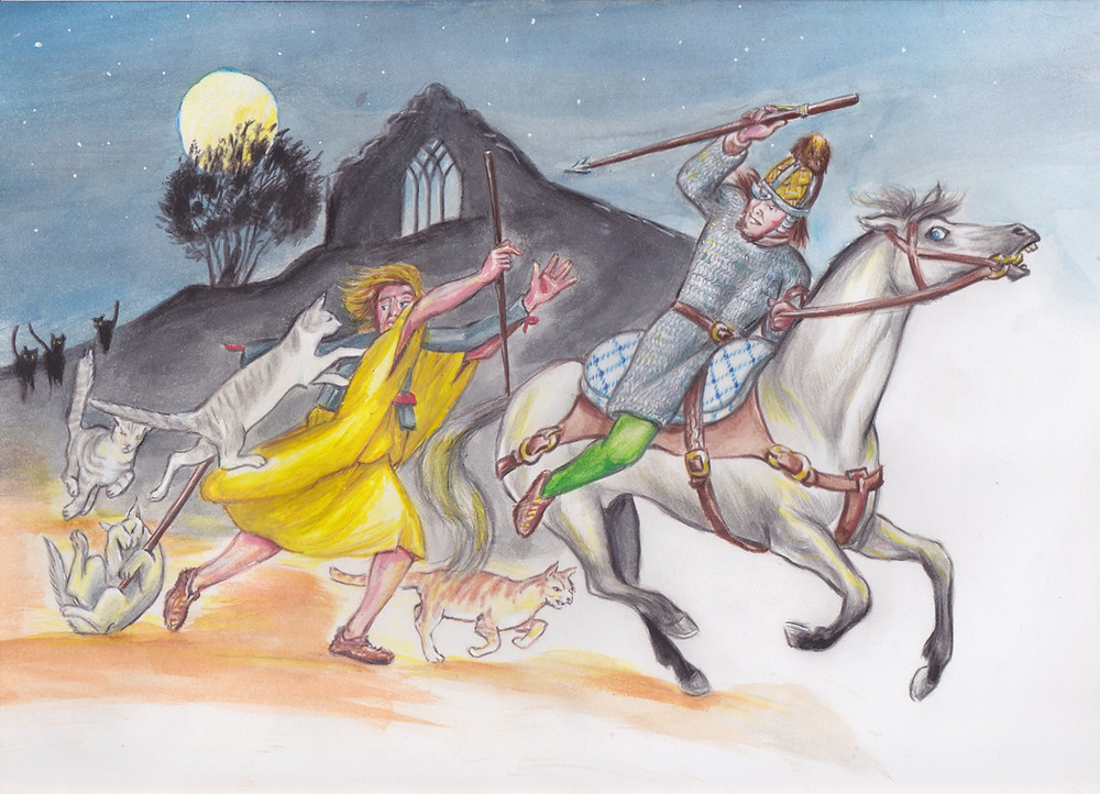 Irish horseman thorwing dart, horseboy fleeing.