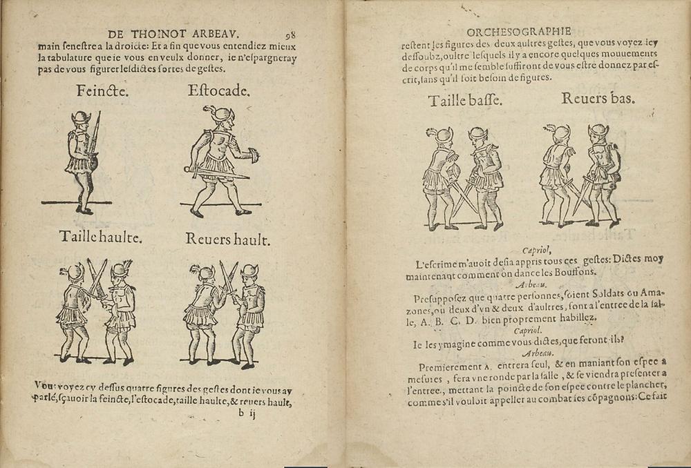 Arbeau's six sword gestures for Bouffons or Mattichins, 1588