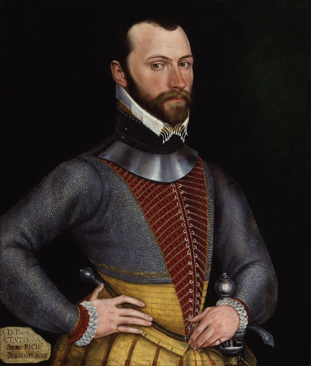 Brian's nemesis, Sir Richard Bingham, in 1564.  Known as the 'Flail of Connacht.'