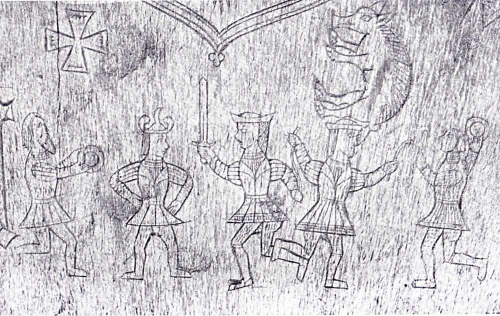 Sword and gad (?) dancers, bone book cover with Fitzgerald arms, 1621